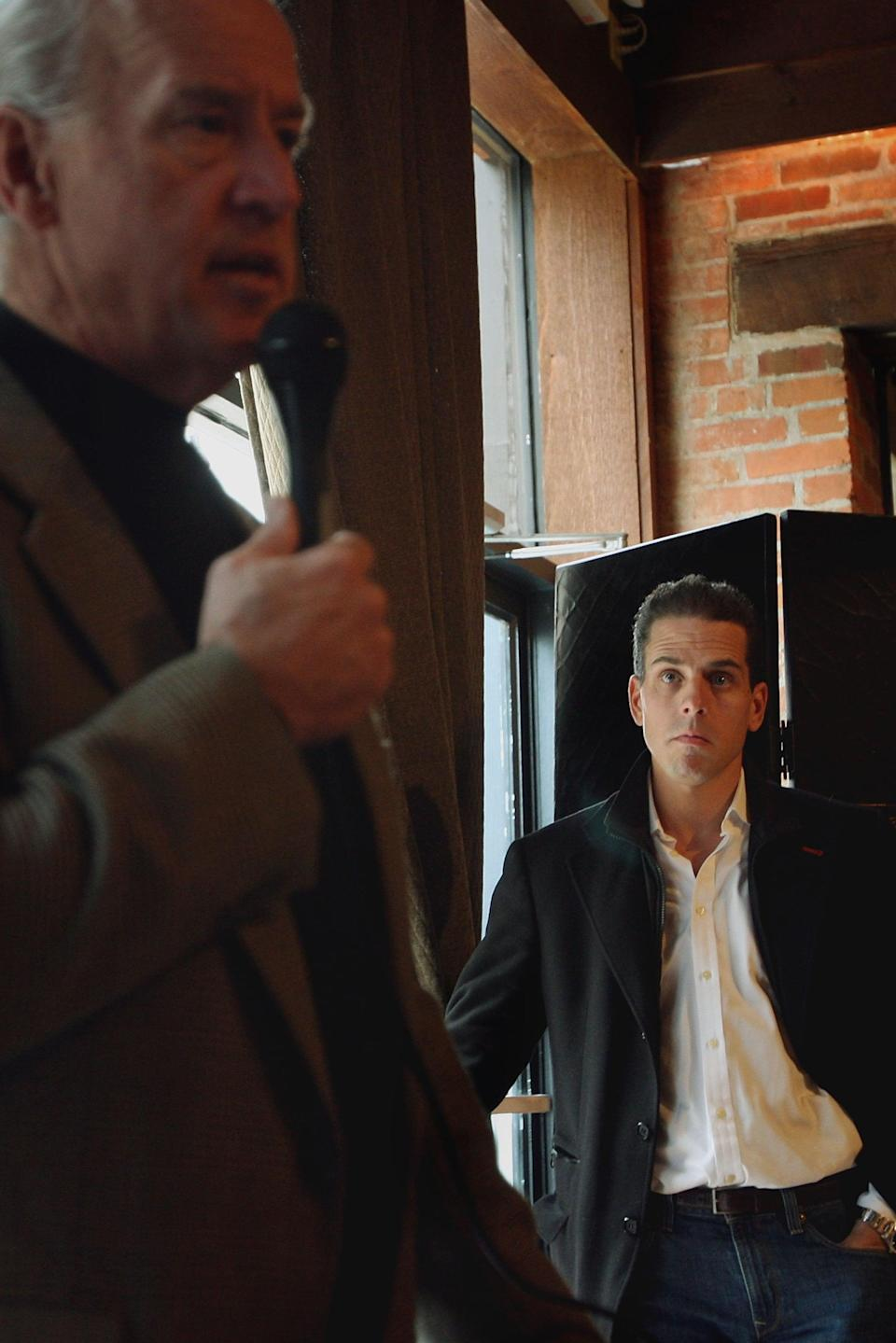 Hunter Biden looks on as his father fields questions during his second run to be the Democratic presidential candidate in 2007Getty