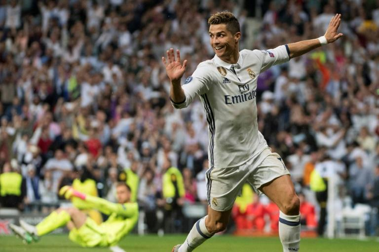 Real Madrid's forward Cristiano Ronaldo celebrates after scoring against Atletico Madrid on May 2, 2017