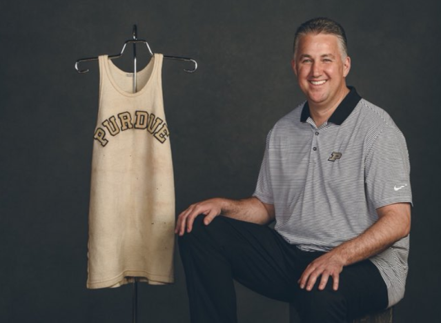 Purdue coach Matt Painter with John Wooden's jersey. (Via @CoachPainter)