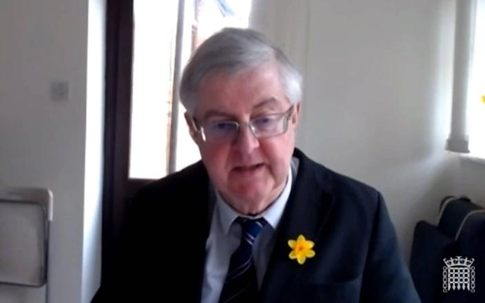 Mark Drakeford speaking via videolink to the Welsh Affairs Committee - PA