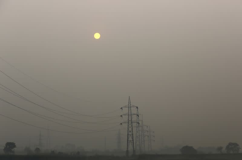 FILE PHOTO: High tension electric pylons are pictured on a smoggy day in New Delhi