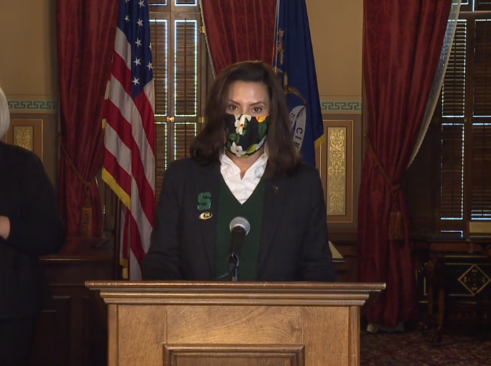 Gov. Gretchen Whitmer appears in a press conference on Oct. 28. 2020.