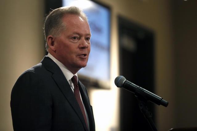 Bobby Petrino is introduced as the new NCAA college football head coach at Missouri State during a news conference Thursday, Jan. 16, 2020, in Springfield, Mo. Petrino has a 119-56 record in 14 seasons at Arkansas, Western Kentucky and Louisville and replaces Dave Steckel who was fired after winning just 13 games in five seasons. (AP Photo/Jeff Roberson)
