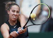 United Staes's Madison Keys plays a return to Belarus's Victoria Azarenka during their third round match on day 6, of the French Open tennis tournament at Roland Garros in Paris, France, Friday, June 4, 2021. (AP Photo/Thibault Camus)