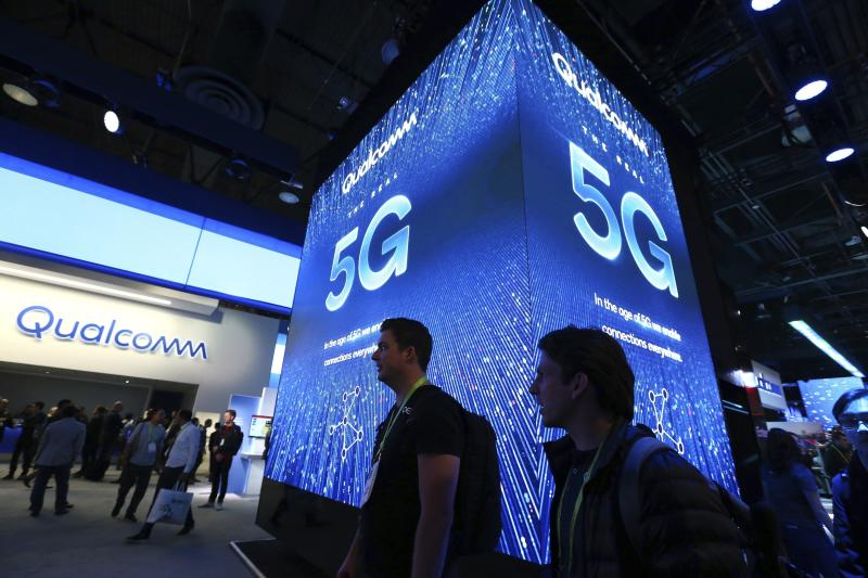 Qualcomm introduces their 5G mobile network at CES International Wednesday, Jan. 9, 2019, in Las Vegas. The Qualcomm 5G platform release is scheduled for later in 2019. (AP Photo/Ross D. Franklin)