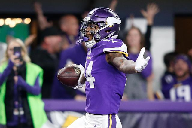 Stefon Diggs celebrates after scoring the game-winning touchdown in the Minnesota Vikings' win over the New Orleans Saints in the NFC Divisional Round. (Getty)