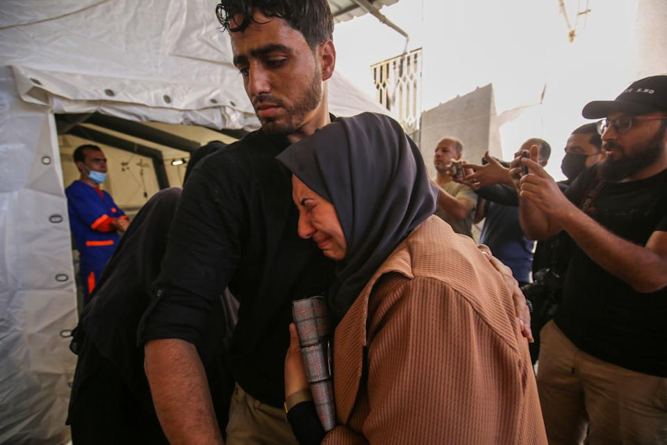 Relatives mourn after three people from the Al-Rentisi family, including two-year-old Ibrahim Al-Rentisi were killed following Israel's attack on Rafah city in the southern part of the Gaza Strip, in Gaza City, Gaza.