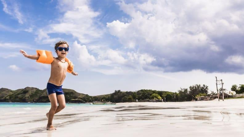 Kids still need sunglasses when the clouds roll in.