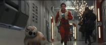 """<p>""""Poe's arc is one of evolving from a heroic soldier to a seasoned leader,"""" Isaac, seen here with droid BB-8, told <em>EW.</em><br>(Credit: Lucasfilm) </p>"""