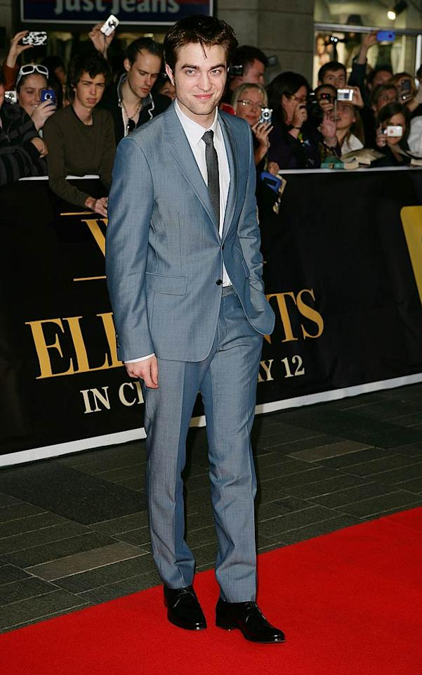 "<b>Robert Pattinson:</b> Our favorite vampire swapped his usual scruffy attire for a light blue suit at the ""Water for Elephants"" red carpet premiere in Sydney, Australia. The result? Perfection! (5/6/2011)"