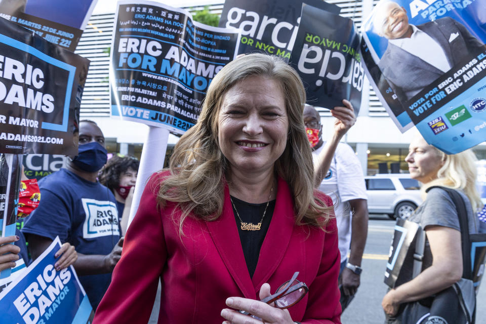 Mayoral candidate Kathryn Garcia arrives for debate at CBS Broadcast Center. She greets supporters gathering outside to appreciate their support. (Lev Radin/Pacific Press/LightRocket via Getty Images)