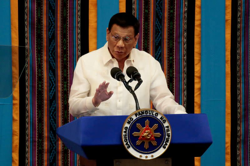 FILE PHOTO: Philippine President Rodrigo Duterte during his fourth State of the Nation address