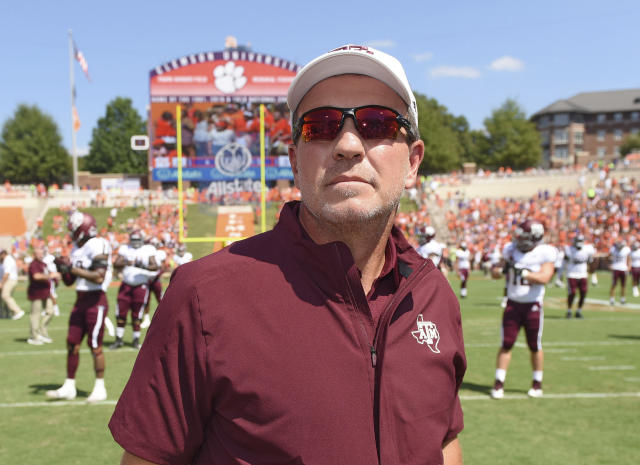 Texas A&M head coach Jimbo Fisher stands at midfield before the start of an NCAA college football game against Clemson on Sept. 7. (AP)