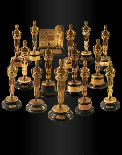 A Los Angeles auction house sold a collection of 15 Oscar statuettes for more than $3 million