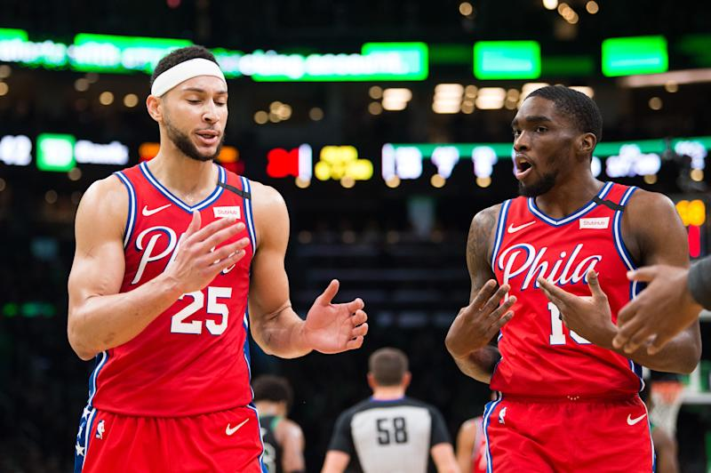 BOSTON, MA - FEBRUARY 1: Ben Simmons #25 discusses a play with teammate Shake Milton #18 of the Philadelphia 76ers against the Boston Celtics in the first half at TD Garden on February 1, 2020 in Boston, Massachusetts. NOTE TO USER: User expressly acknowledges and agrees that, by downloading and or using this photograph, User is consenting to the terms and conditions of the Getty Images License Agreement. (Photo by Kathryn Riley/Getty Images)
