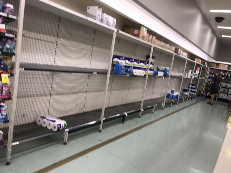 Woolworths toilet roll shelves have been left bare across the country. Pictured is a Woolworths store in the Sutherland Shire.