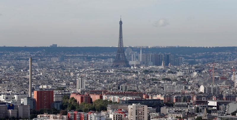 A view shows the skyline with the Eiffel Tower that is seen in the distance, in Paris