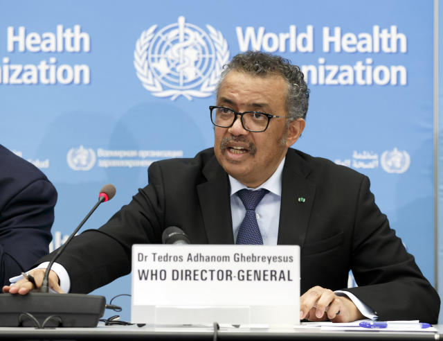 "The World Health Organization (WHO) said on Monday that the origins of the fresh outbreak were ""uncertain"" but that it may have been caused by imports or packaging of salmon. Pictured, WHO chief Tedros Adhanom Ghebreyesus. (AP)"