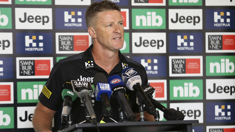 Damien Hardwick, pictured here speaking to reporters during a Richmond training session.