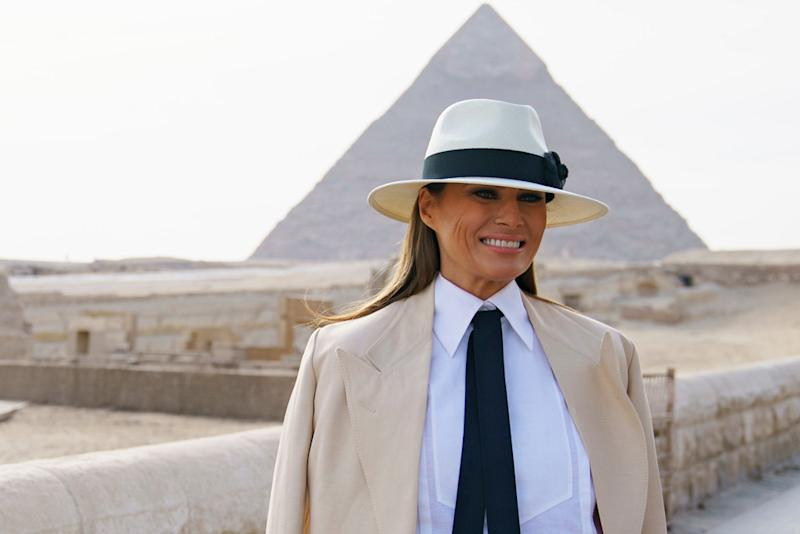90c60e38b4be2 Melania Trump Goes for Menswear-Inspired Look While Visiting the Pyramids  in Egypt — and Twitter Has a Lot to Say About the Look