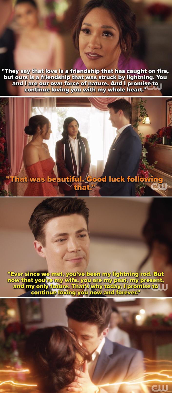 Barry and Iris reciting their new vows and promising to love each other