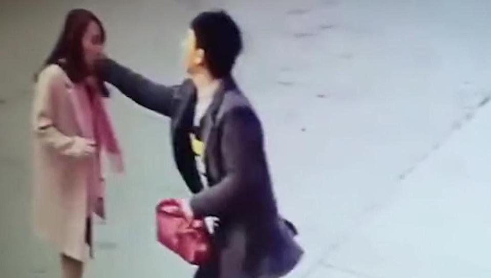 Zhang is seen attacking Xiao Li after travelling 500 miles (Picture: AsiaWire)