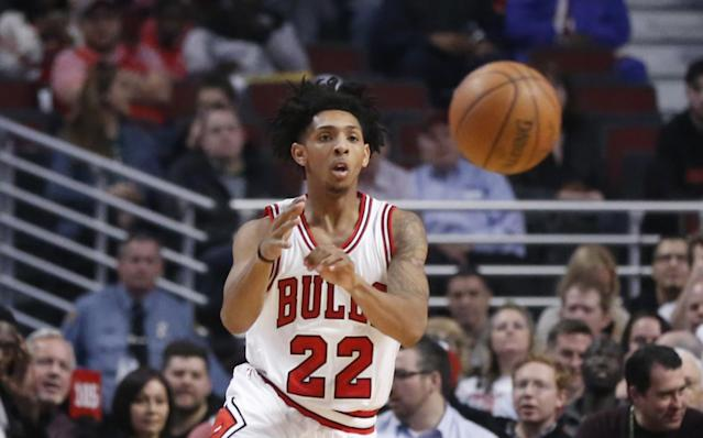 "<a class=""link rapid-noclick-resp"" href=""/nba/players/5474/"" data-ylk=""slk:Cameron Payne"">Cameron Payne</a> has a history of foot injuries. (AP)"