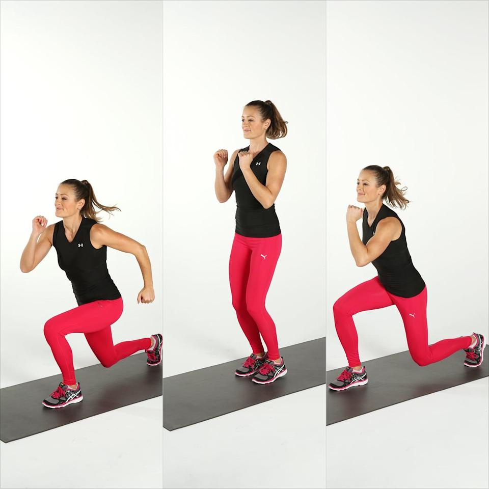 <ul> <li>Stand with your feet together and your knees soft. Jump and come into a lunge with your left leg forward.</li> <li>Push off with both feet, jumping them together, then hopping into a lunge with your right leg in front.</li> <li>Jump your feet back together to complete one rep.</li> <li>Complete for 30 seconds, followed by 10 seconds of rest. Repeat for a total of three rounds.</li> </ul>