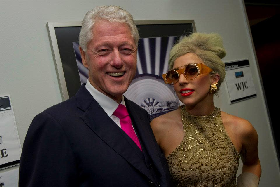 "President Clinton and <a target=""_blank"" href=""http://news.yahoo.com/photos/lady-gaga-performs-at-decade-of-difference-concert-1318745436-slideshow/"">Lady Gaga</a> before ""A Decade of Difference"" concert.<br><br>(Photo by Barbara Kinney / Clinton Foundation)"