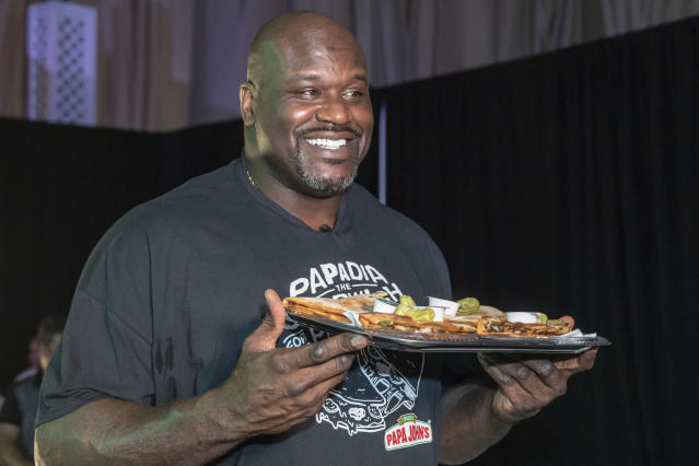 Shaquille O'Neal is being criticized for skipping too many Papa John's board meetings. (Manuel Mazzanti/AP Images for Papa John's Pizza)