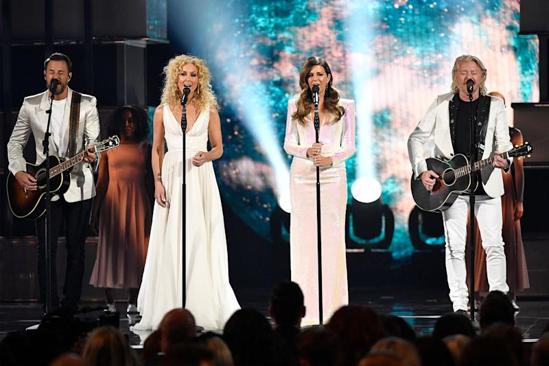 Jimi Westbrook, from left, Kimberly Schlapman, Karen Fairchild, and Philip Sweet of Little Big Town, perform during the 54TH Academy of Country Music Awards Sunday, April 7, 2019, in Las Vegas, Nev.