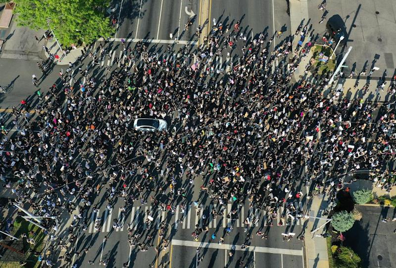An aerial view of protesters marching in New York on 4 June.