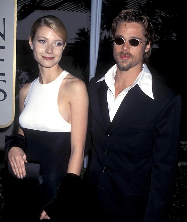 Gwyneth Paltrow and Brad Pitt attend the 1996 Golden Globe Awards. (Photo: Ron Galella, Ltd./WireImage)