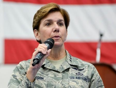 U.S. Air Force Gen. Lori Robinson, Pacific Air Forces commander, addresses Airmen at Andersen Air Force Base, Guam