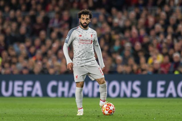Mohamed Salah and Liverpool trail Manchester City by one point with two matches left in the Premier League season. (Getty)