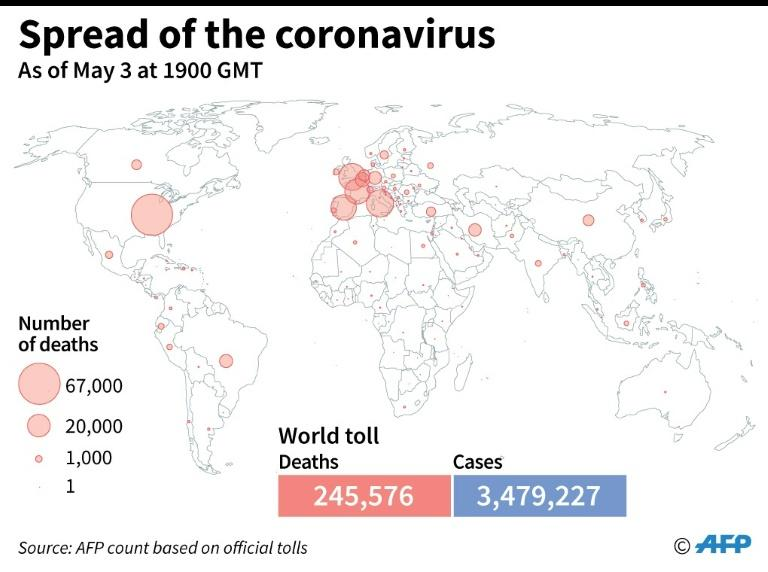 World map showing official number of coronavirus deaths per country, as of May 3 at 1900 GMT (AFP Photo/Simon MALFATTO)