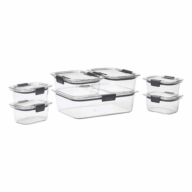 "<p>Rethink everything you thought you knew about plastic food storage containers—these modern versions with gray lids have a sleek design and are perfectly airtight, so they'll keep your cooked quinoa and roasted veggies fresh for days. Plus, both the base and lid are made from BPA-free plastic. </p> <p><strong>To buy</strong>: $25 for a 14-piece set,<a href=""https://www.amazon.com/Rubbermaid-Brilliance-Container-14-Piece-1977447/dp/B01JCNETC0/ref=as_li_ss_tl?ie=UTF8&linkCode=ll1&tag=rsfoodmealprepgadgetsbgold0919-20&linkId=744c8397d5a1f4adf15e8105e19cd8b9&language=en_US"" target=""_blank"">Rubbermaid Brilliance</a></p>"