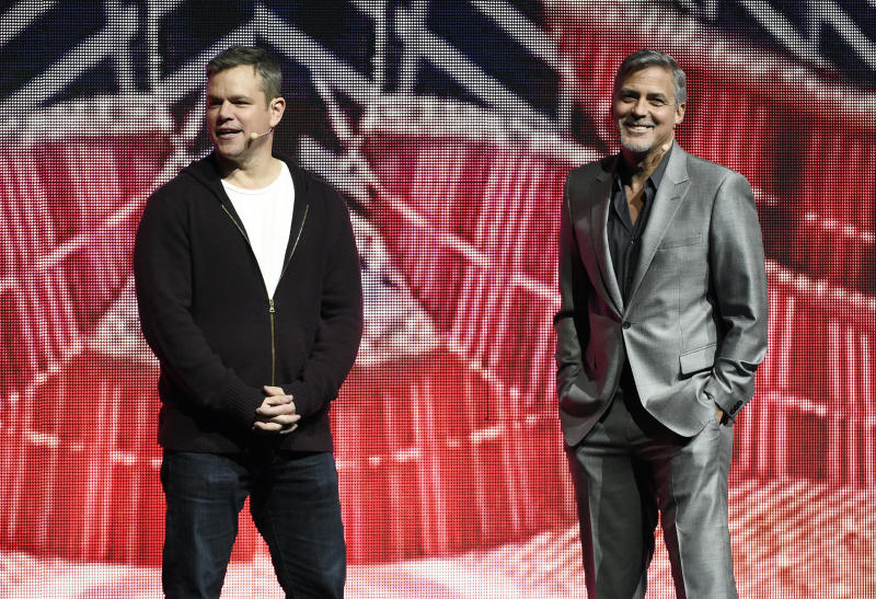 "Matt Damon, left, a cast member in the upcoming film ""Suburbicon,"" addresses the audience with director George Clooney during the Paramount Pictures presentation at CinemaCon 2017 at Caesars Palace on Tuesday, March 28, 2017, in Las Vegas. (Photo by Chris Pizzello/Invision/AP)"