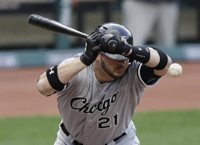 Chicago White Sox's Tyler Flowers is hit by a pitch from Cleveland Indians starting pitcher Justin Masterson in the fifth inning of a baseball game, Saturday, May 3, 2014, in Cleveland. (AP Photo/Tony Dejak)