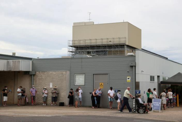 The queue at a coronavirus disease testing clinic is pictured in Sydney