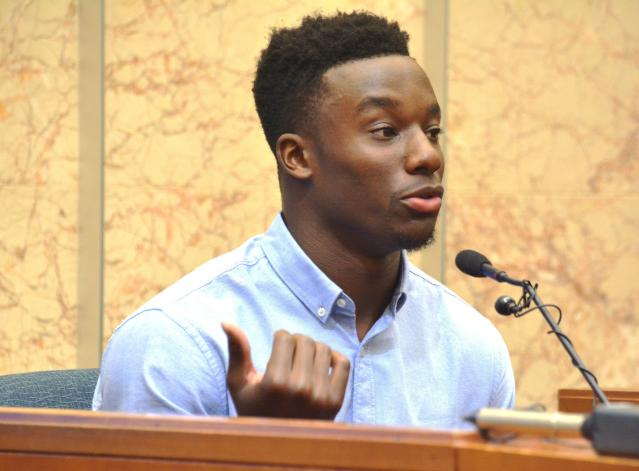 In this Monday, Sept. 9, 2019 photo, New York Giants cornerback Corey Ballentine testifies during a preliminary hearing in Shawnee County District Court in Topeka, Kan., about the fatal shooting of Dwane Simmons, his best friend and former Washburn University teammate. Alejandro Mendez, 18, of Topeka, is charged with first-degree murder and 11 other counts in the shooting(Phil Anderson/The Topeka Capital-Journal via AP)