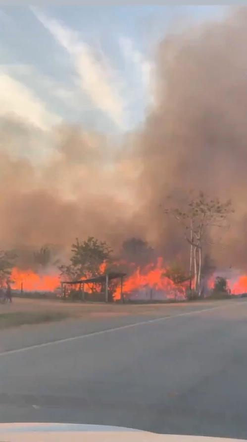 Flames are seen along the BR364 highway in Guajara-Mirim, Rondonia, the northern Brazilian state close to the amazon forest, August 14, 2019.