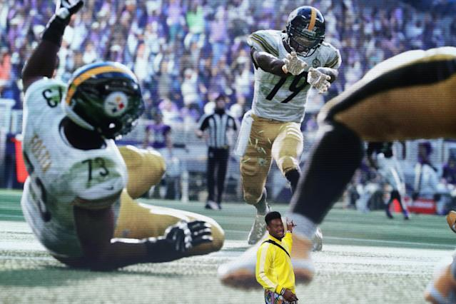 JuJu Smith-Schuster of the Pittsburgh Steelers speaks on-stage about 'Madden 19' during the Electronic Arts EA Play event last June. (Getty Images)