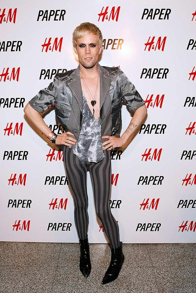 "Semi Precious Weapons' singer Justin Tranter popped a pose in something only Lady GaGa could get away with at Paper Magazine's annual ""Beautiful People Party."" Mark Von Holden/<a href=""http://www.wireimage.com"" target=""new"">WireImage.com</a> - April 9, 2009"