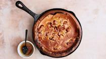"""<p>This family-friendly <a href=""""https://www.marthastewart.com/7979412/dutch-baby-pancake-how-to-variations"""" rel=""""nofollow noopener"""" target=""""_blank"""" data-ylk=""""slk:Dutch baby"""" class=""""link rapid-noclick-resp"""">Dutch baby</a> is made with sliced Granny Smith apples tossed with a blend of cinnamon and sugar. The apples are sprinkled over the batter, which is baked in a cast-iron skillet until it becomes golden brown and puffy. <a href=""""https://www.marthastewart.com/1550674/dutch-baby-apples-and-honey"""" rel=""""nofollow noopener"""" target=""""_blank"""" data-ylk=""""slk:View recipe"""" class=""""link rapid-noclick-resp""""> View recipe </a></p>"""