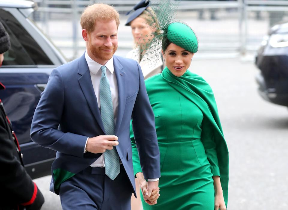 LONDON, ENGLAND - MARCH 09: Prince Harry, Duke of Sussex and Meghan, Duchess of Sussex attend the Commonwealth Day Service 2020 at Westminster Abbey on March 09, 2020 in London, England. The Commonwealth represents 2.4 billion people and 54 countries, working in collaboration towards shared economic, environmental, social and democratic goals. (Photo by Chris Jackson/Getty Images)