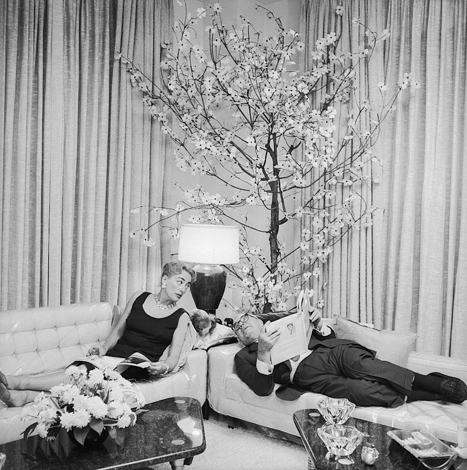 """<p>While on the West Coast, Joan Crawford resided in her Brentwood mansion. However, after marrying business executive Alfred Steele in 1955, the film star moved into a <a href=""""https://www.joancrawfordbest.com/geo5thave.htm"""" rel=""""nofollow noopener"""" target=""""_blank"""" data-ylk=""""slk:lavish Fifth Avenue duplex"""" class=""""link rapid-noclick-resp"""">lavish Fifth Avenue duplex</a> that overlooked Central Park. </p>"""