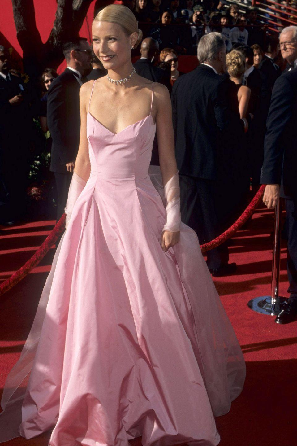 <p>Gwyneth Paltrow channeled Princess Aurora in a pale-pink Ralph Lauren gown at the 1999 Academy Awards, where she won Best Actress for <em>Shakespeare in Lov</em>e.</p>