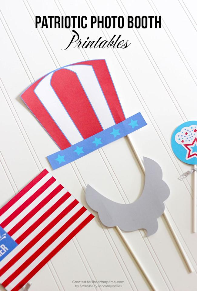 """<p>Give your guests something to do (and something that'll make them chuckle) with these fun photo booth props. </p><p><strong>Get the printables from <a rel=""""nofollow"""" href=""""https://www.iheartnaptime.net/patriotic-photo-booth-printables/"""">I Heart Naptime</a>.  </strong></p>"""