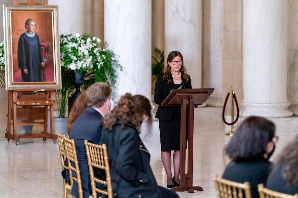 <p>Rabbi Lauren Holtzblatt speaks during a private ceremony for Associate Justice Ruth Bader Ginsburg at the U.S. Supreme Court on September 23, 2020 in Washington, DC.</p>